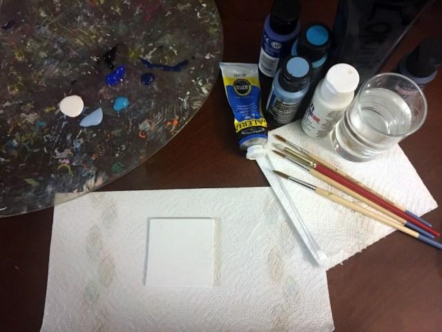 mini painting supplies winter theme