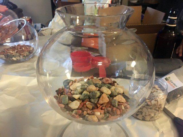 rocks & pebbles in the base of the terrarium