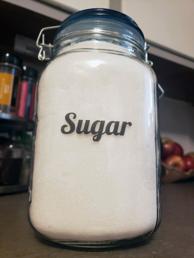 sugar label pantry organization