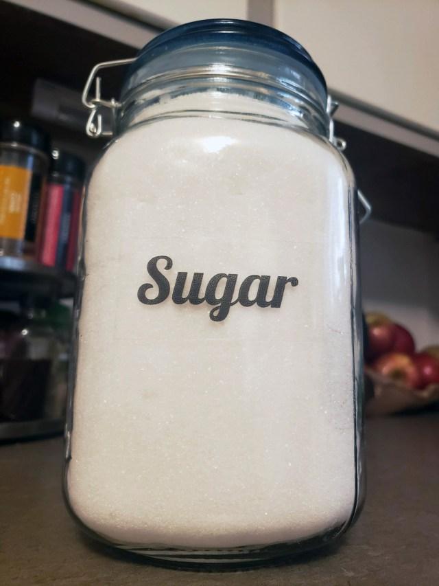 sugar label pantry organization
