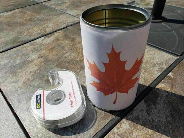 Leaf art on tin can