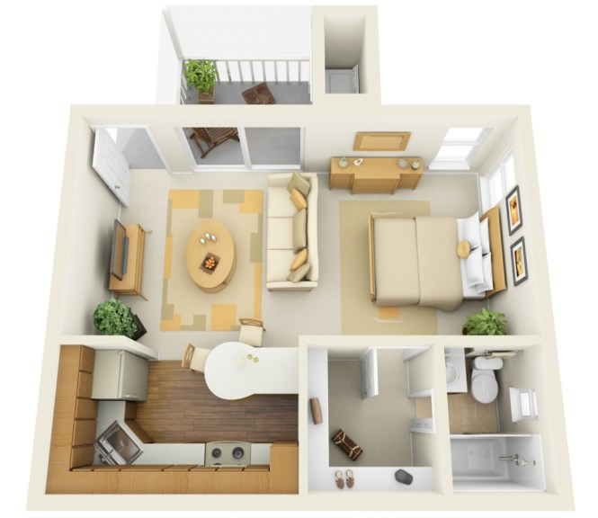 A Floor Plan Of Studio Apartment Divided Into Multiple Rooms