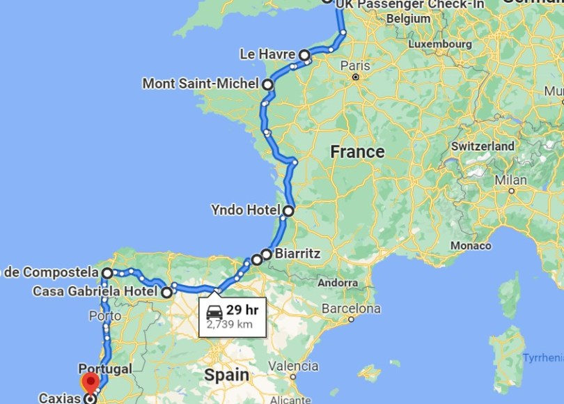 London to Lisbon, Long Way Down