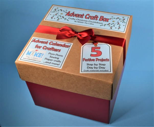 Advent craft box blue background