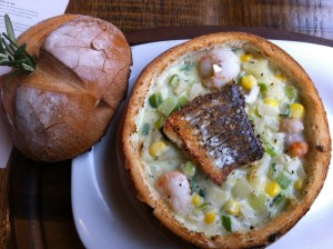 fish chowder sourdough with top