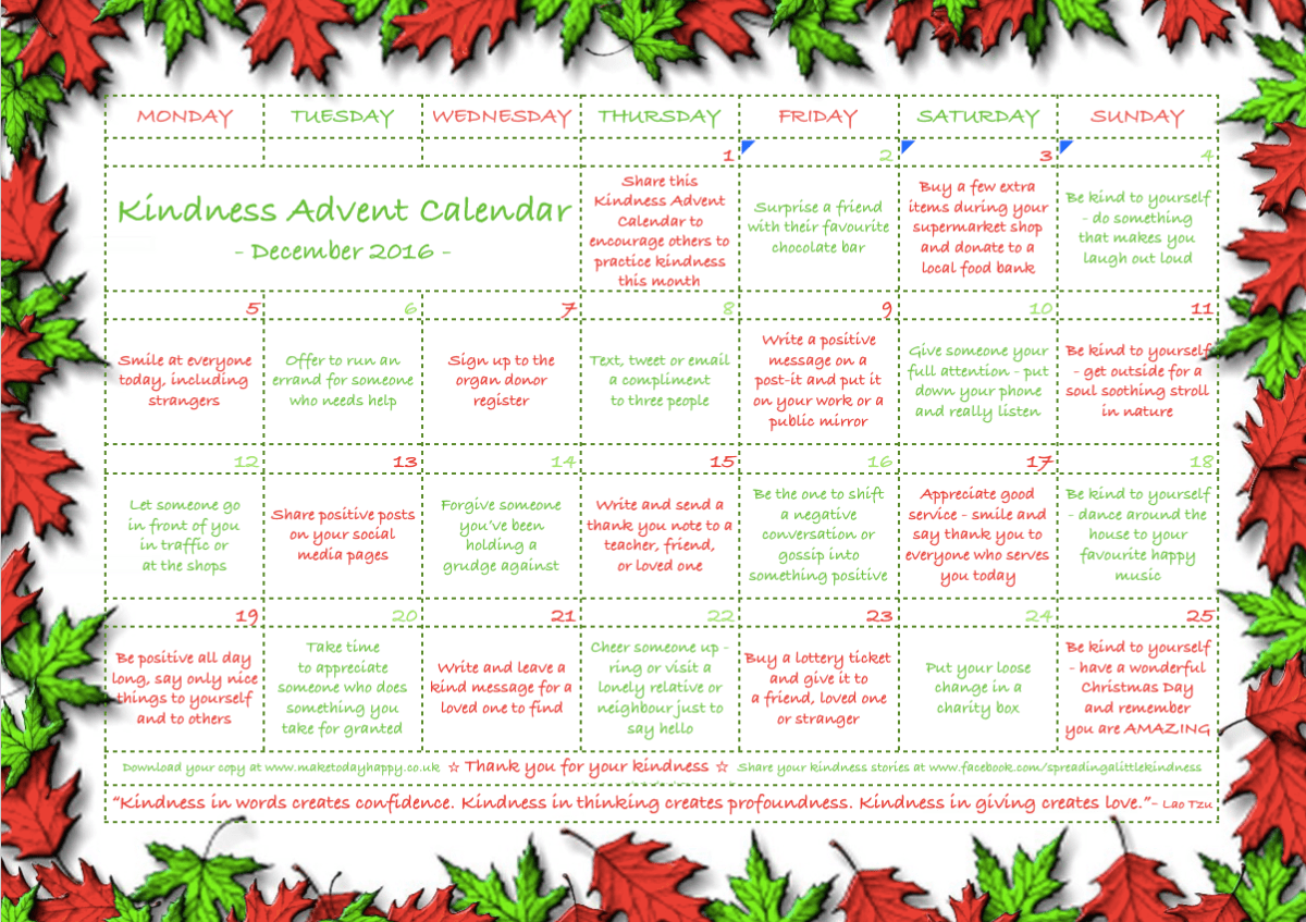 Act of kindness #24: Kindness Advent Calendar (2016)