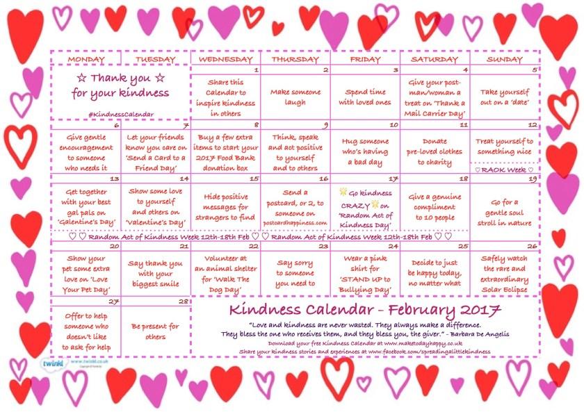 Kindness Calendar February 2017 FINAL