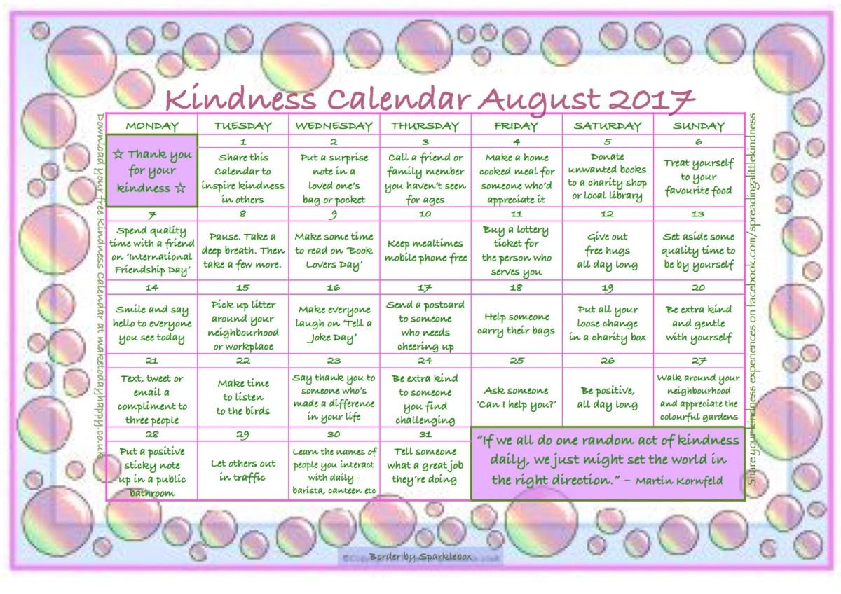 Kindness Calendar: August 2017