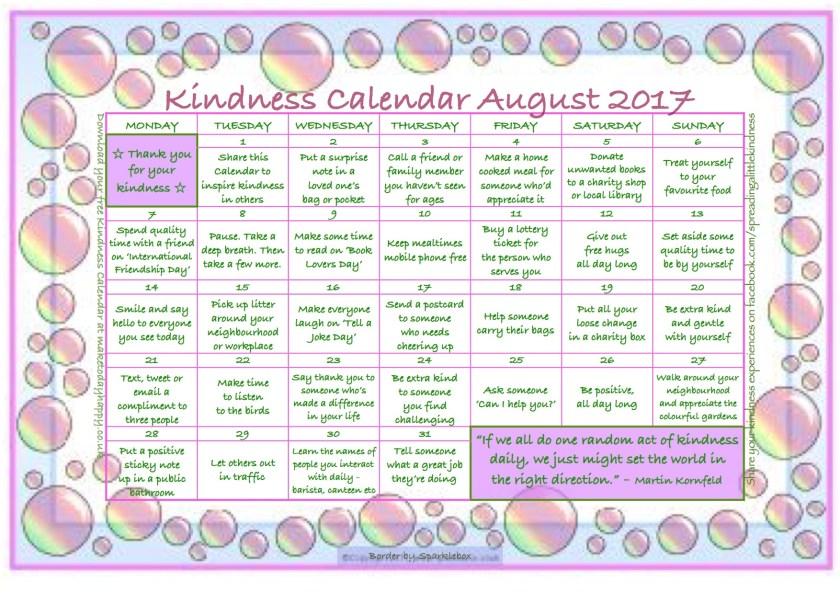 Kindness Calendar August 2017