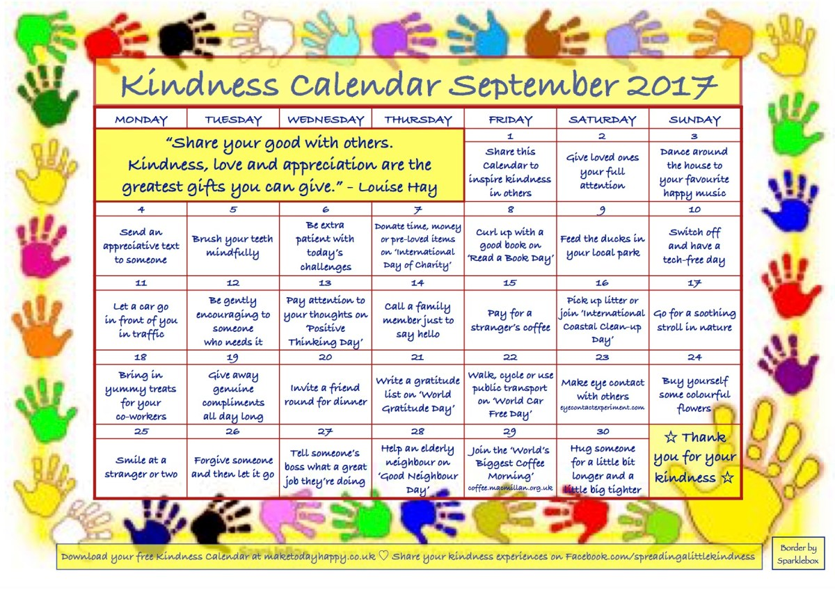 Kindness Calendar: September 2017