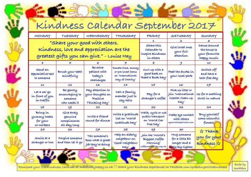 Kindness Calendar September 2017 new