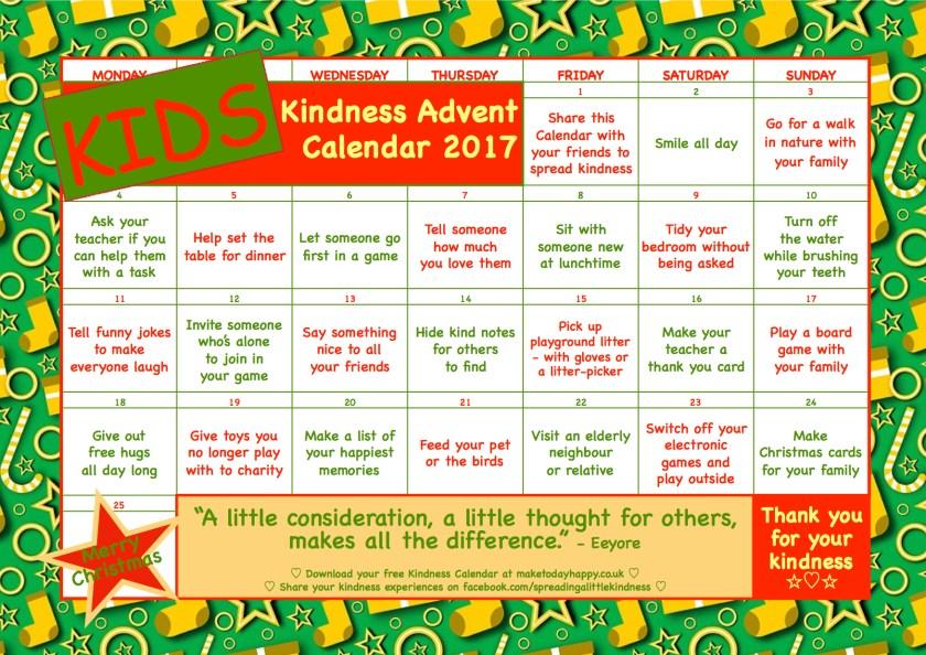 Kids Kindness Calendar : Kindness advent calendar december make today happy