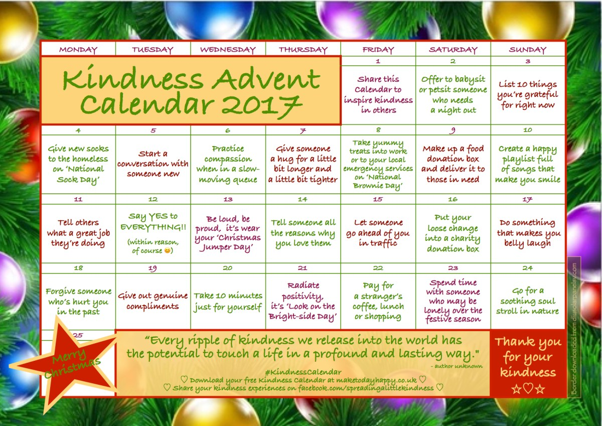 Kindness Advent Calendar: December 2017