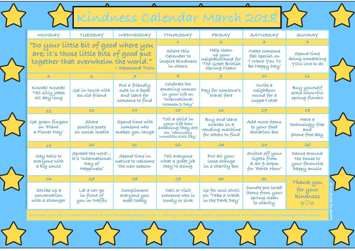 Kindness Calendar: March 2018