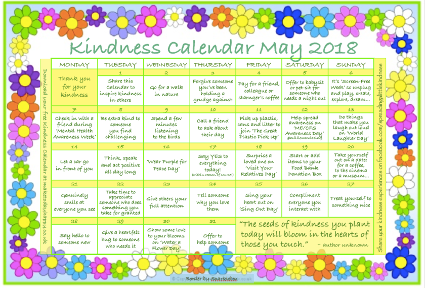 Kindness Calendar May 2018