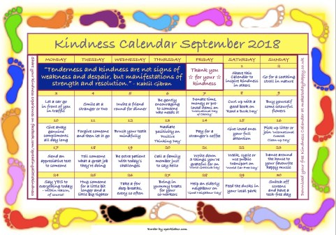 Kindness Calendar September 2018