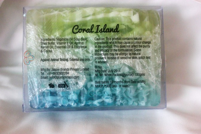 Puriso Handcrafted Soaps Coral Island Soap review