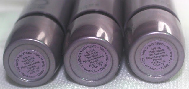 Oriflame THE ONE Matte Lipstick-Wild Rose, Berrylicious and Pink Raspberry Review & Swatch