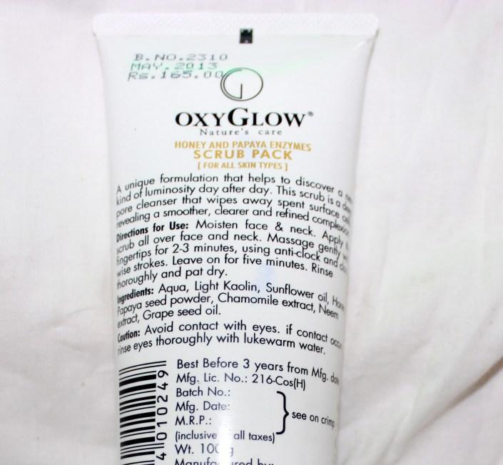 Oxyglow Honey & Papaya Enzymes Scrub Review