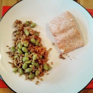 Salmon with grains and beans