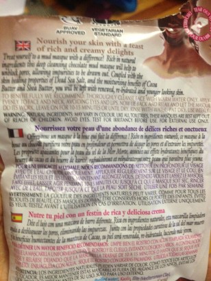 Montagne Jeunesse Chocolate Masque Packaging back