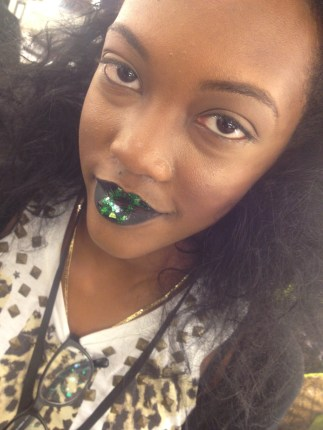 Metallic Green lip I did on one of Kimberly Goldson's mode's