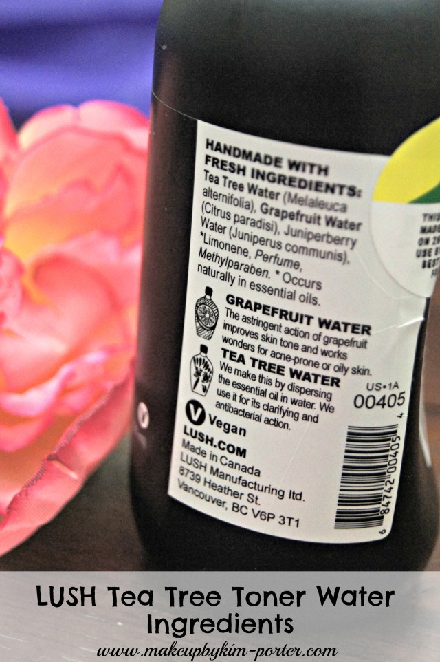 LUSH Tea Tree Oil Water Toner  Ingredients