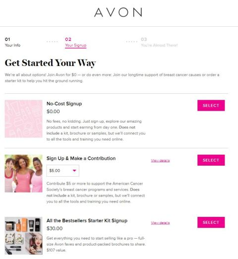 Join Avon Select your starter kit