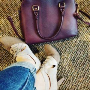 Avon Fashion Cushion Walk® Ella Lace-Up Fashion Shoe and Leather Saffiano Dome Bag