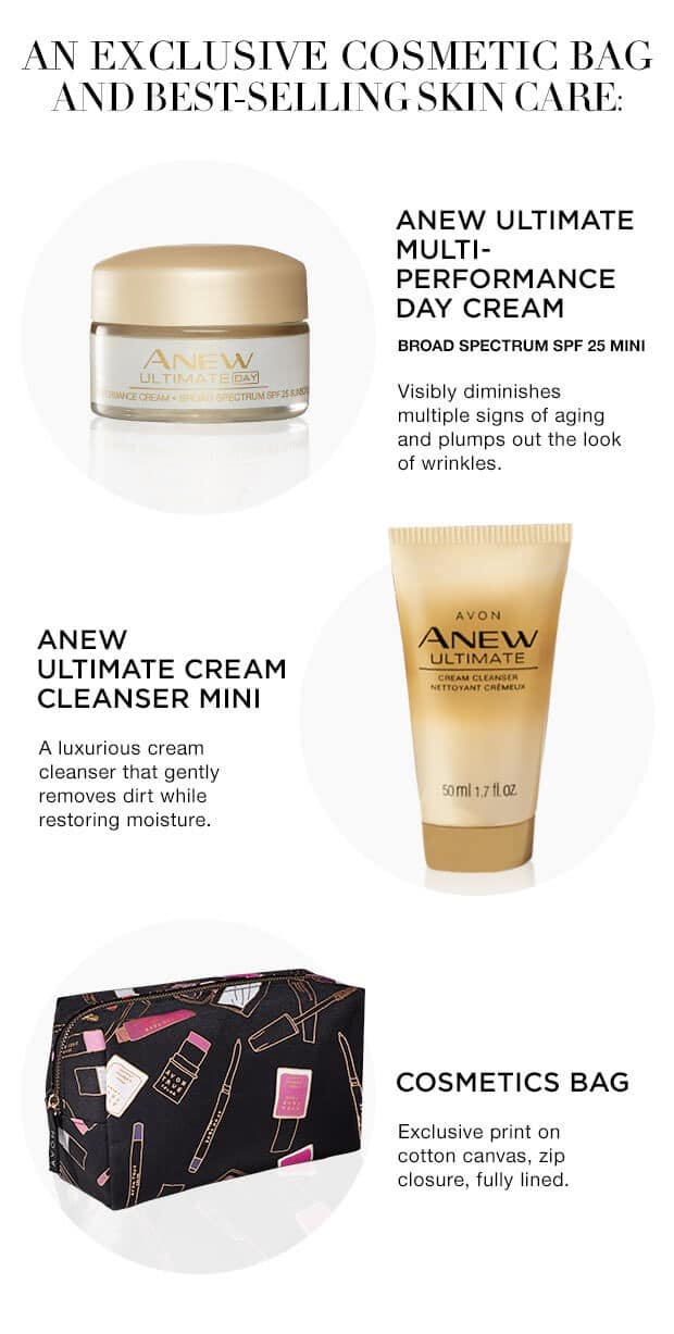 Exclusive Avon Cosmetics Bag - A Box - An Exclusive Cosmetic Bag and Best-selling Skin Care: Anew Ultimate Multi-Performance Day Cream - Anew Ultimate Cream Cleanser Mini