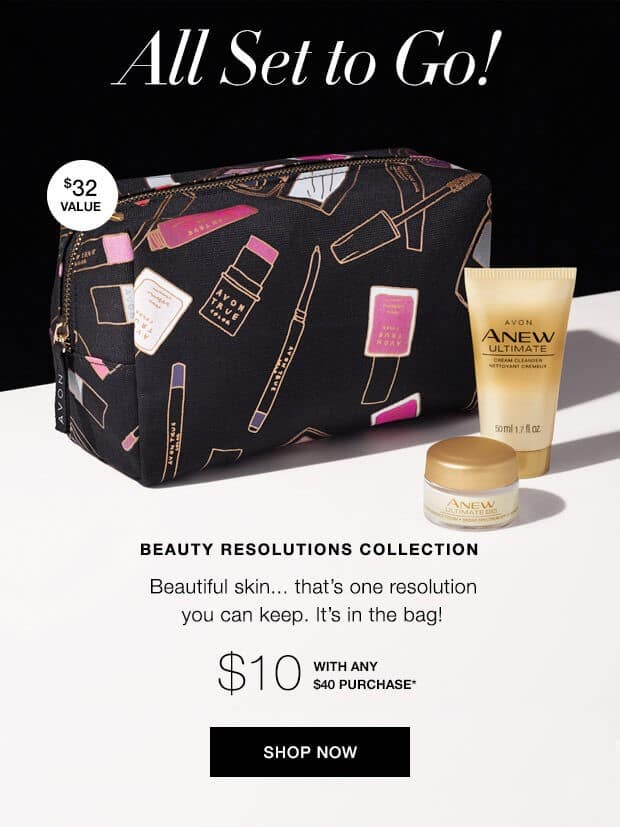 Exclusive Avon Cosmetics Bag - A Box - Beautiful Skin... that's one resolution you can keep. It's in the bag!