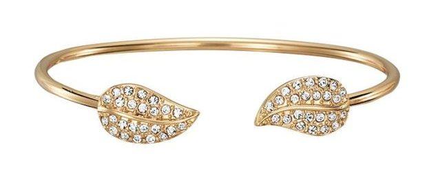 Open Cuff Bracelet Pavé Leaf