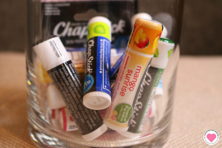 I keep a variety of ChapStck products on my nightstand