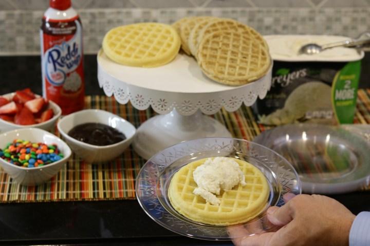 Breyer's ice cream on a waffle