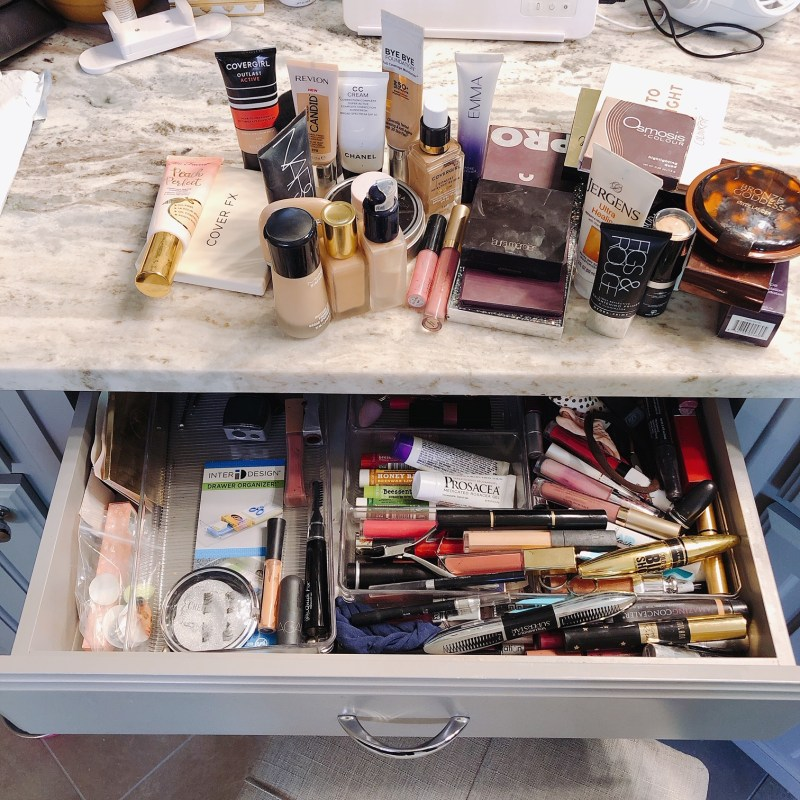 cleaning makeup vanity