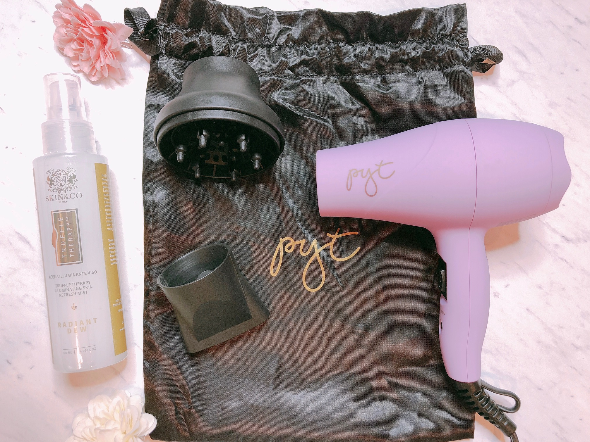 PYT mini hair dryer with attachments