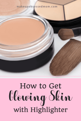 applying highlighter to get glowing skin