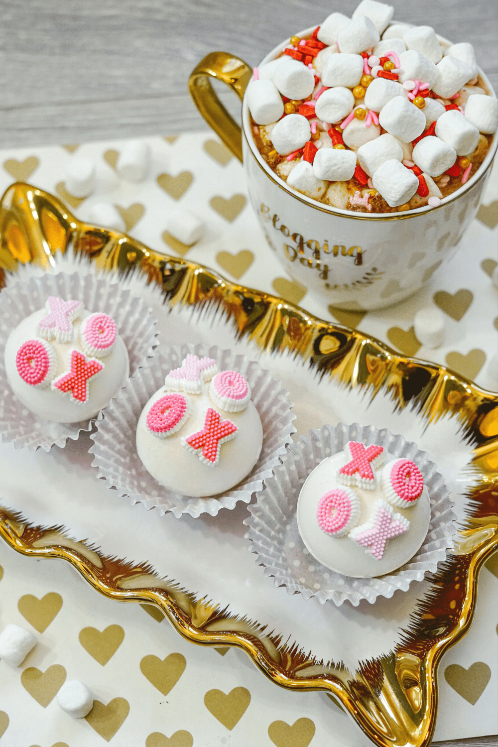 homemade Valentine's Day hot cocoa bombs
