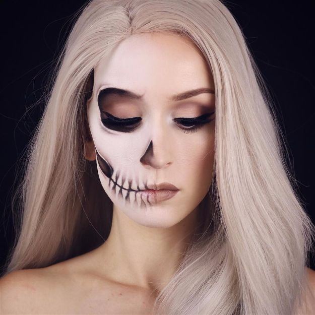 Fading Half Skull | Spooky Skeleton Makeup Ideas You Should Wear This Halloween