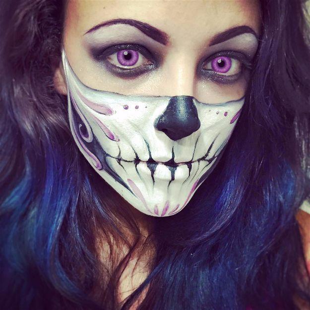 Purple Skull | Spooky Skeleton Makeup Ideas You Should Wear This Halloween