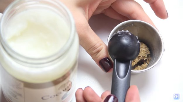 Add the coconut oil | Easy DIY Lip Scrub Makeup Tutorial