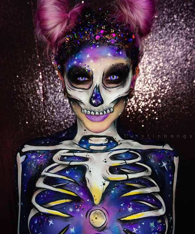 Galactic Spacebunny Skull | Spooky Skeleton Makeup Ideas You Should Wear This Halloween