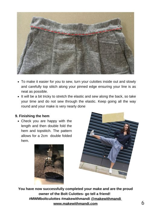 example of sewing instructions