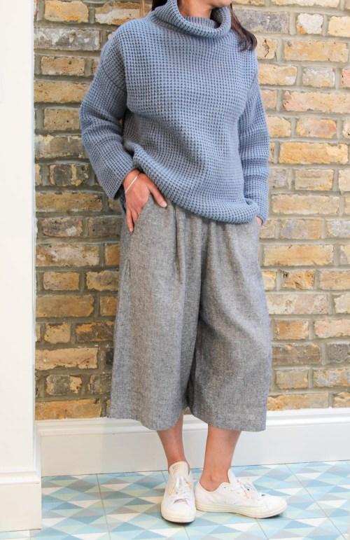 mandi standing in culottes