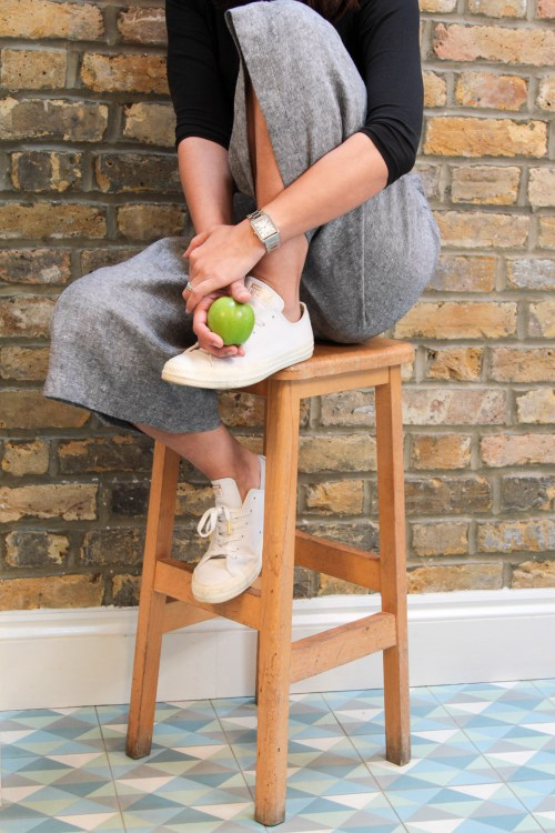 sitting on stool in culottes