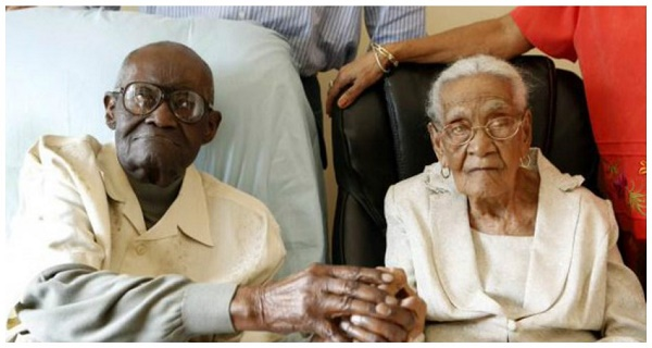 They have 213 years together - the husband is 108, the wife 105, and they celebrate 82 Years of Marriage!