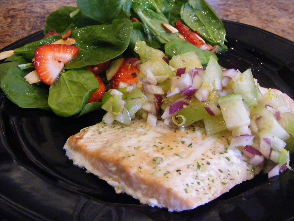 Baked Salmon with Tomatillo Salsa and Spinach-Strawberry Salad