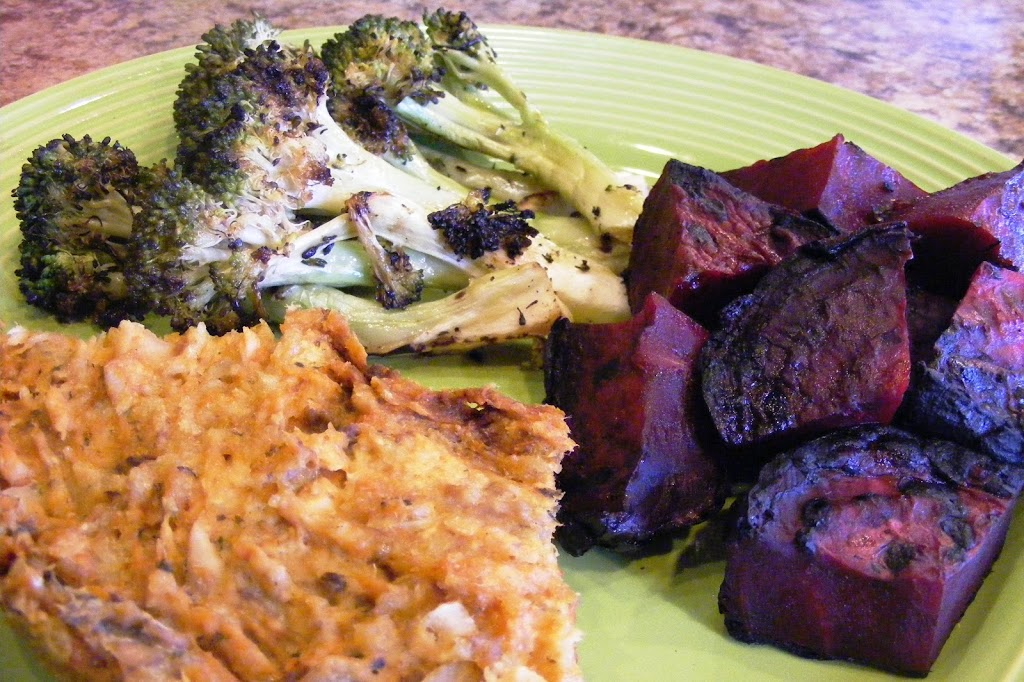 Salmon Loaf with Grilled Beets and Broccoli