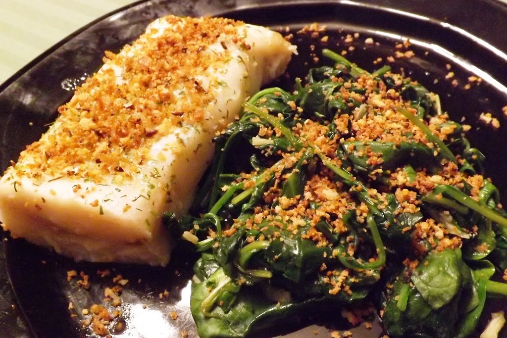 Baked Cod and Wilted Spinach with Parmesan Panko Crumbs