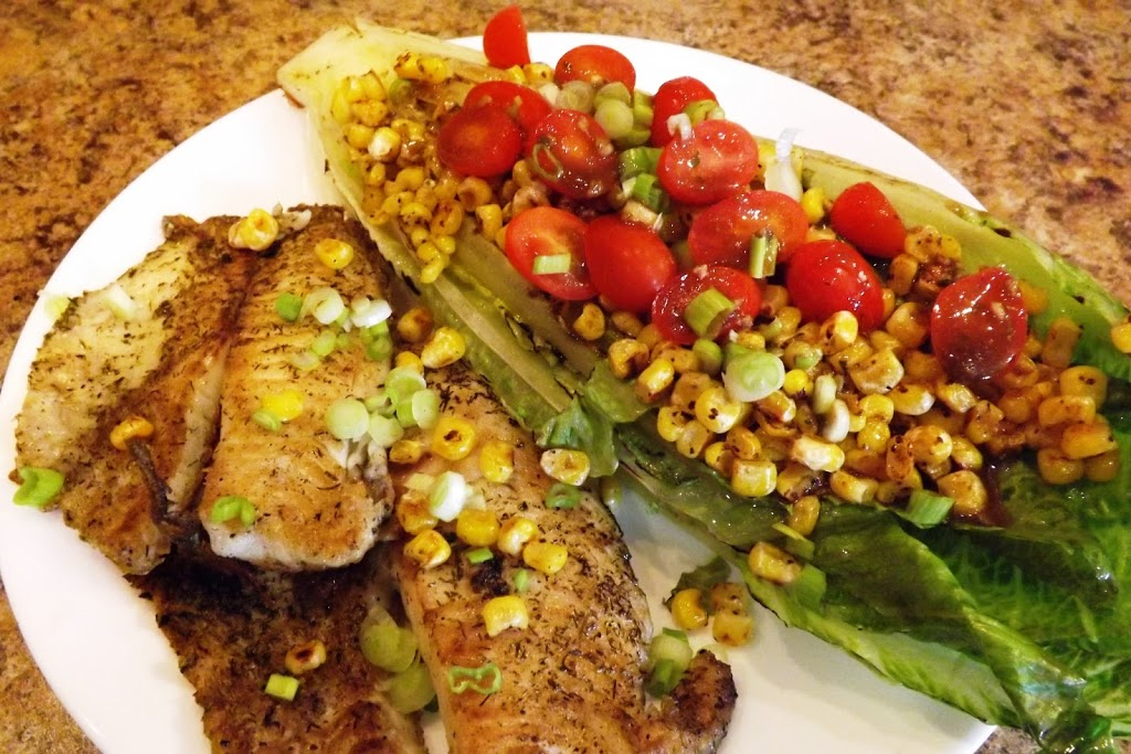 Grilled Romaine Salad with Tomatoes and Grilled Corn